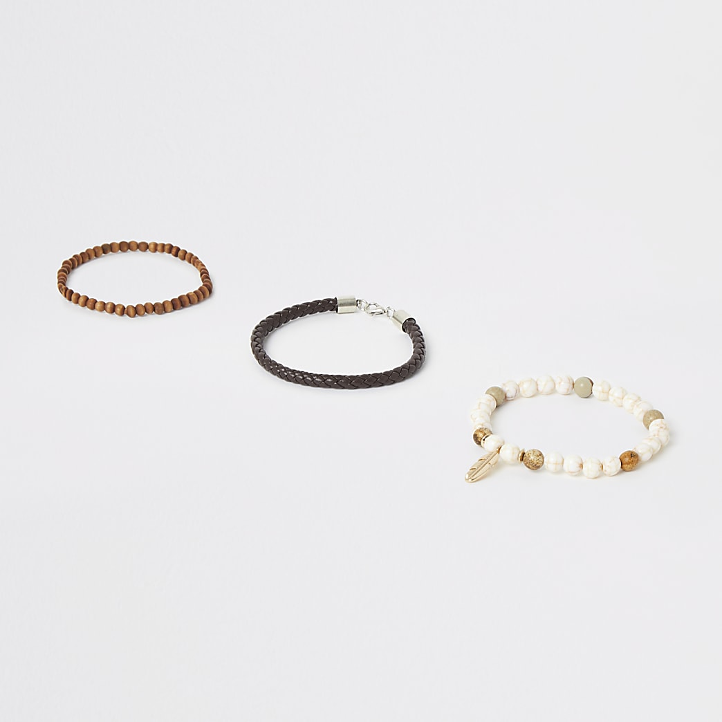 Brown bead feather charm bracelet 3 pack