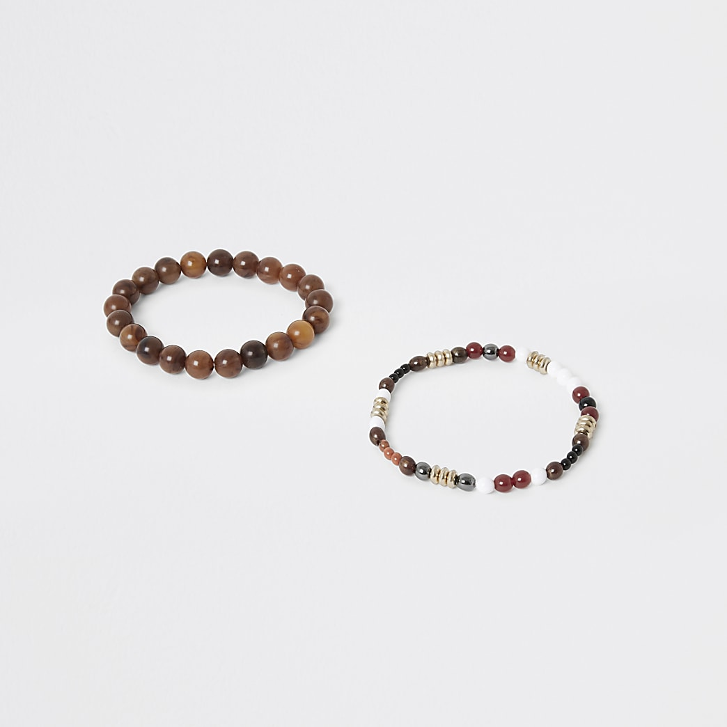 Lot de 2 bracelets marrons de perles