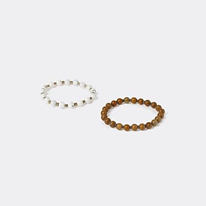 Brown beaded bracelet 2 pack