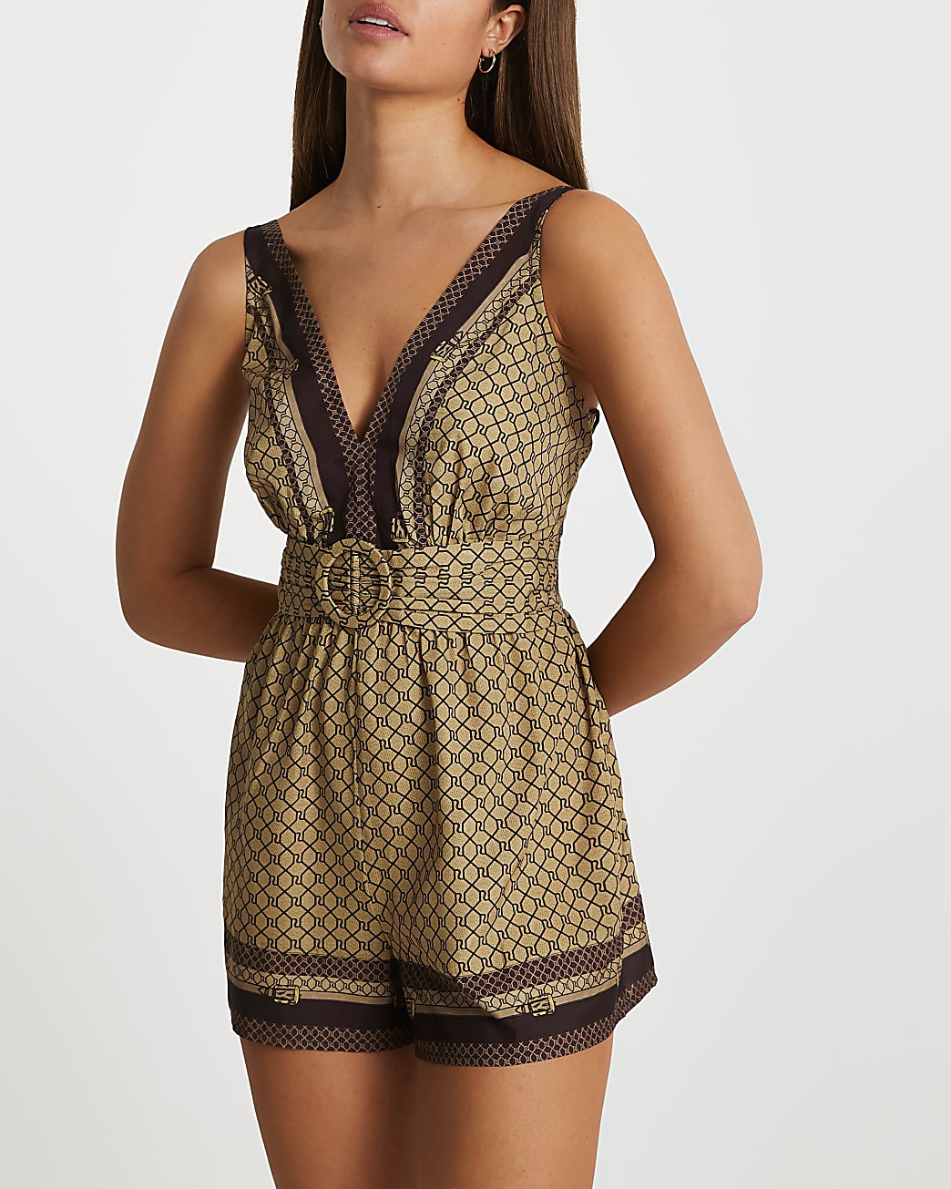 Brown belted cover up playsuit