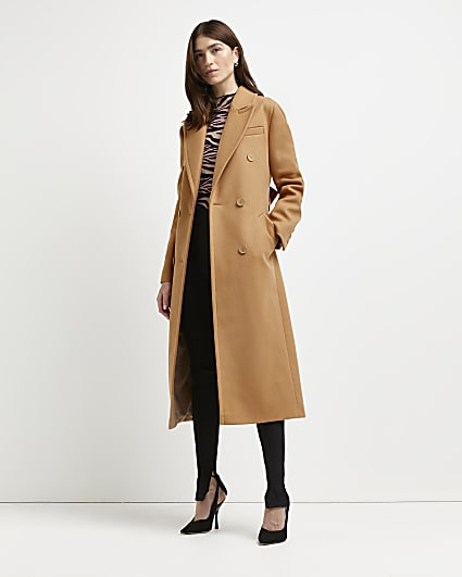 Brown belted double breasted coat