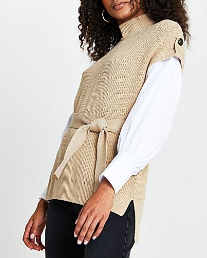 Brown belted poplin sleeve knit top