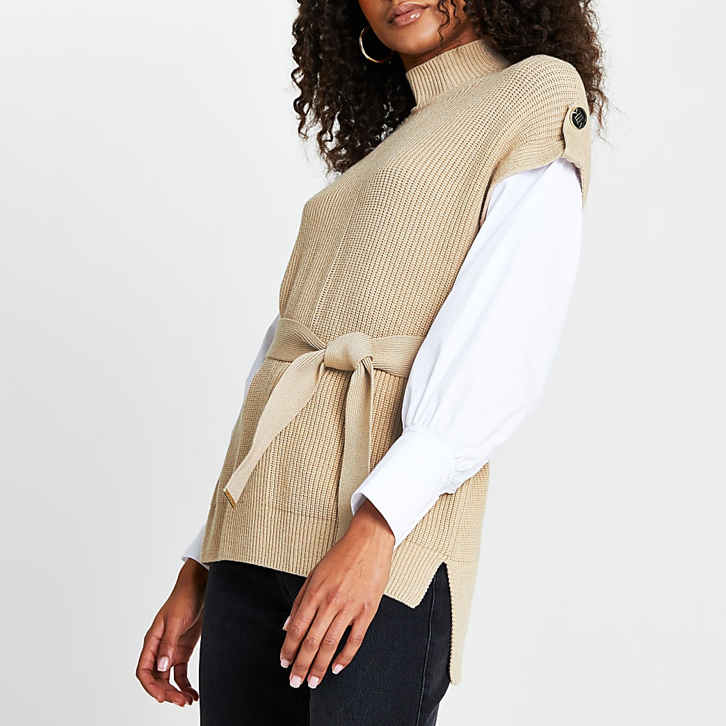 Brown belted poplin sleeve knit top