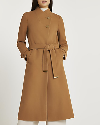 Brown belted wrap coat