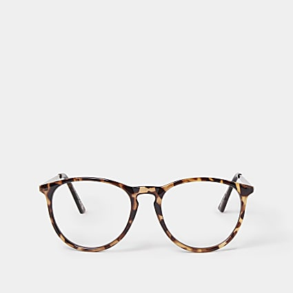 Brown blue light lens preppy frame sunglasses