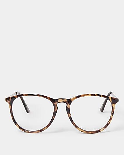 Brown blue light lens preppy frame sunglasses