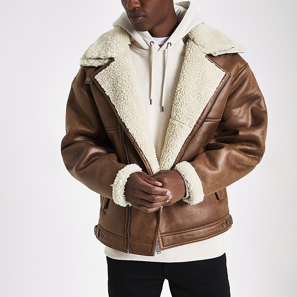Brown borg biker jacket