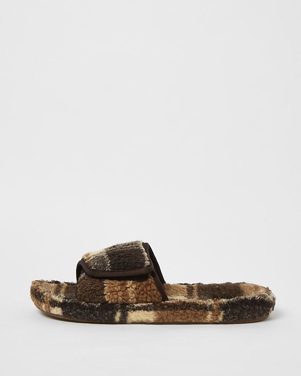 Brown borg check slider slippers