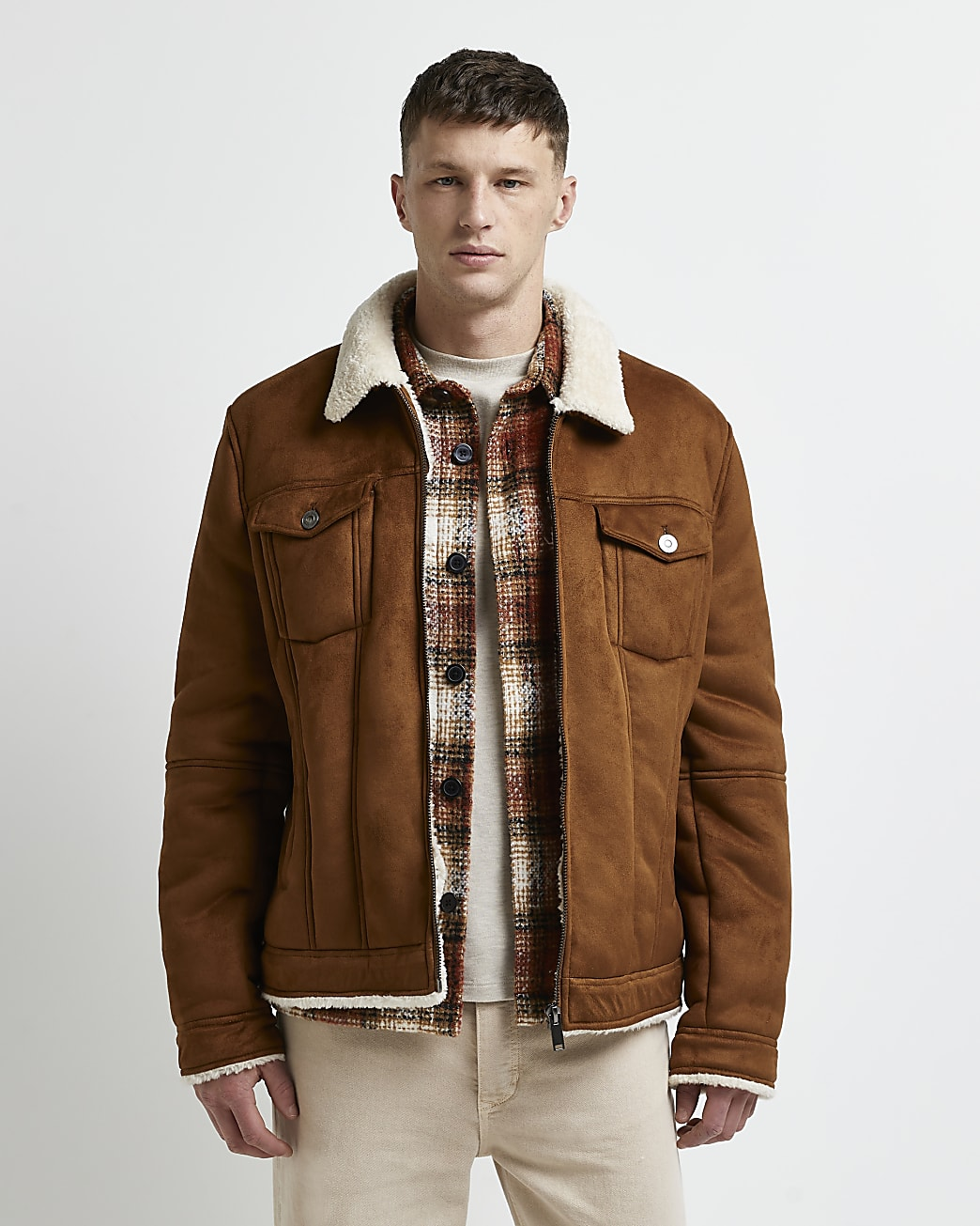 Brown borg lined faux suede western jacket