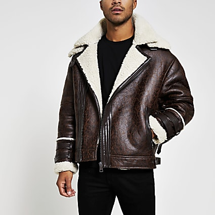 Brown borg oversized biker jacket