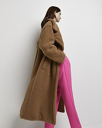 Brown borg oversized coat