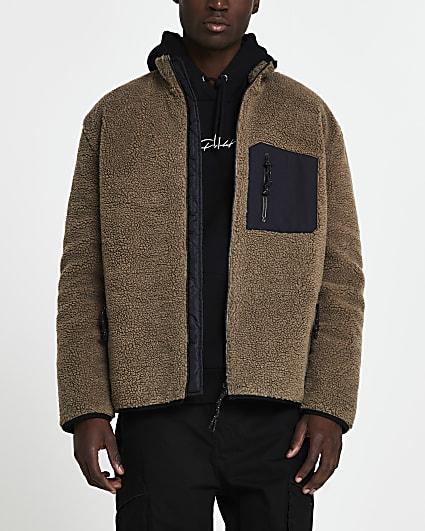 Brown borg zip through jacket
