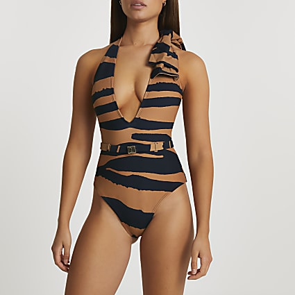 Brown bow halter neck animal print swimsuit