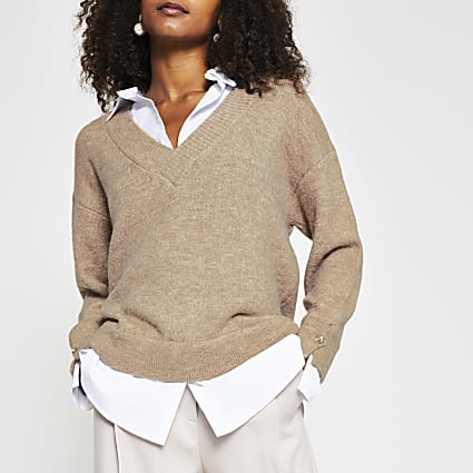 Brown boxy shirt jumper