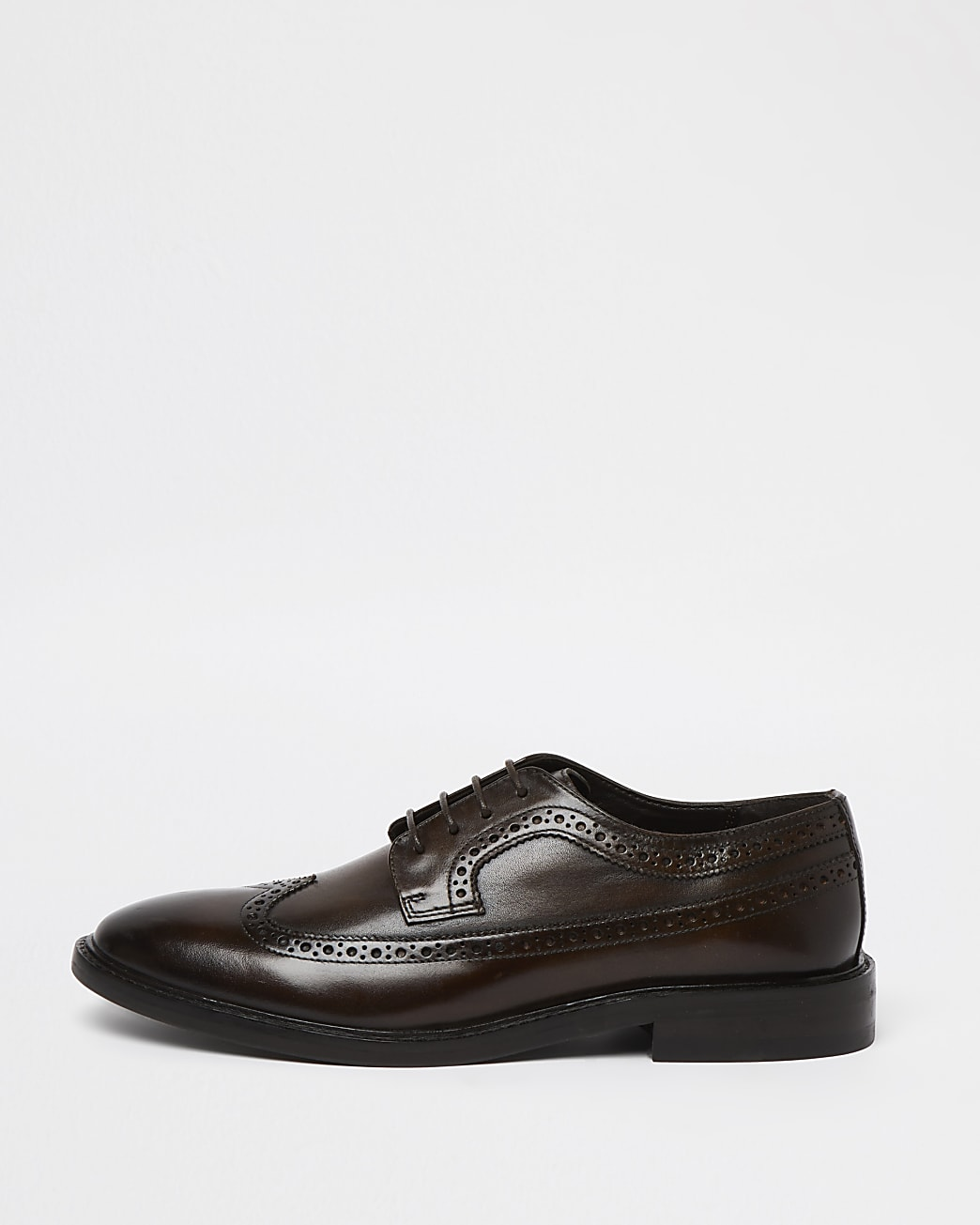 Brown brogue lace up derby shoes