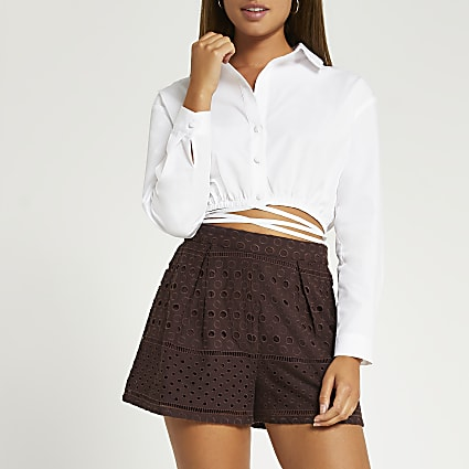 Brown broidery shorts