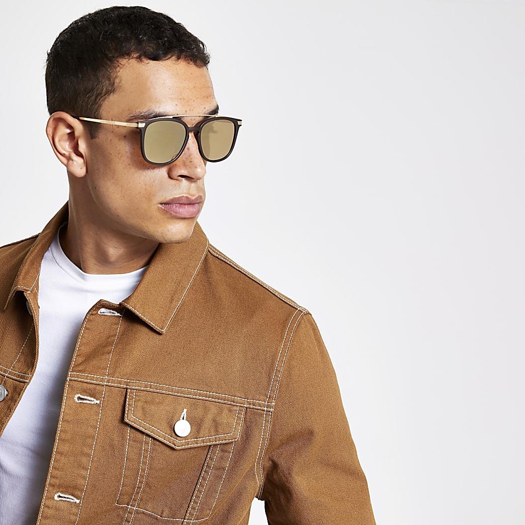 Brown brow bar navigator sunglasses