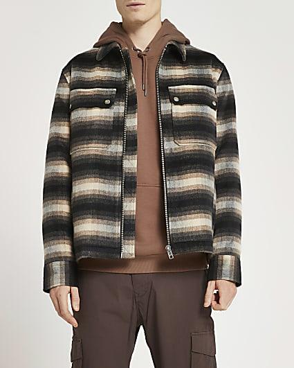 Brown brushed check zip shacket