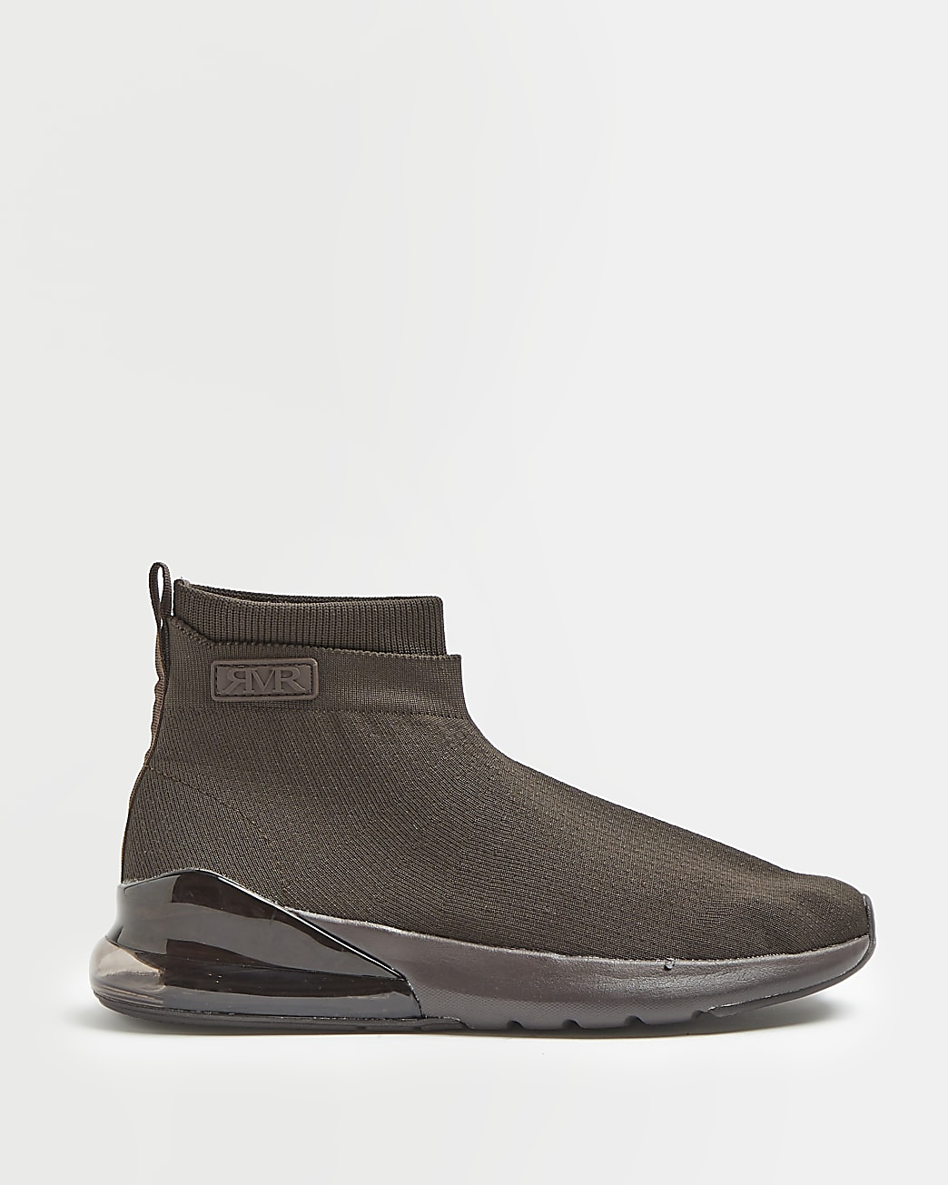 Brown bubble sole knitted sock trainers
