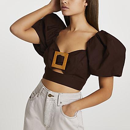 Brown buckle puff sleeve crop top