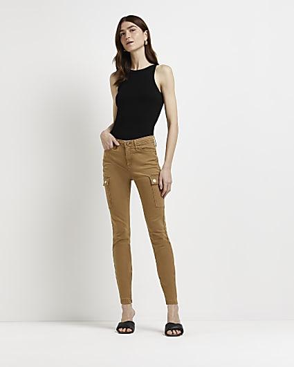 Brown bum sculpt cargo trousers