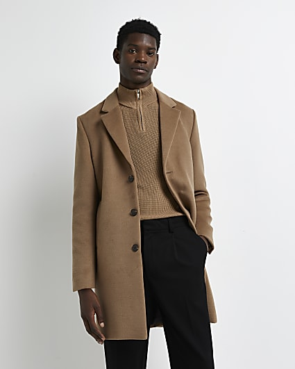Brown button down  overcoat