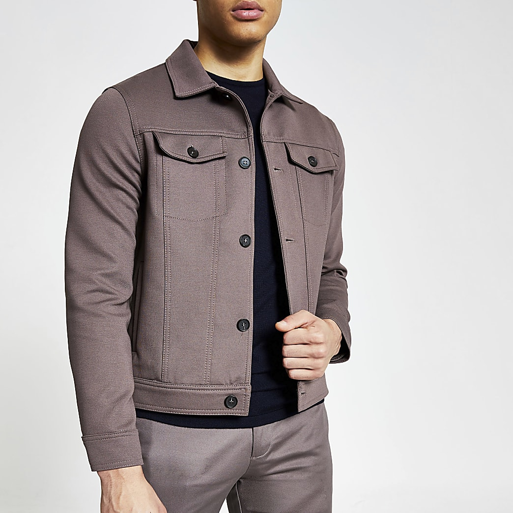 Brown button front skinny fit western jacket