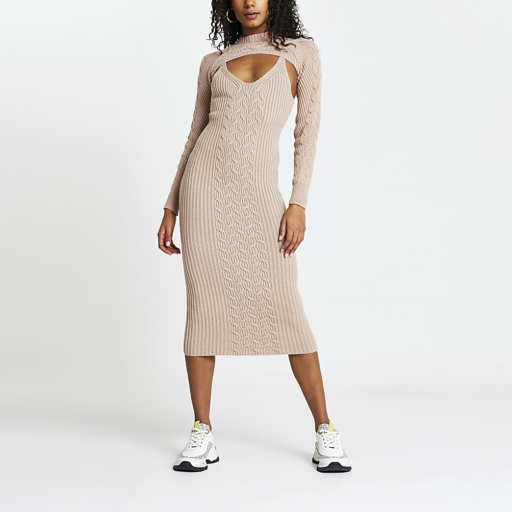 Brown cable knit 2 in 1 dress