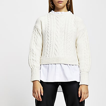 Brown cable knit shirt jumper