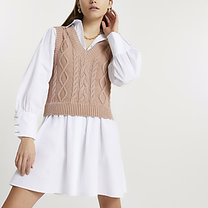 Brown cable knit tank dress