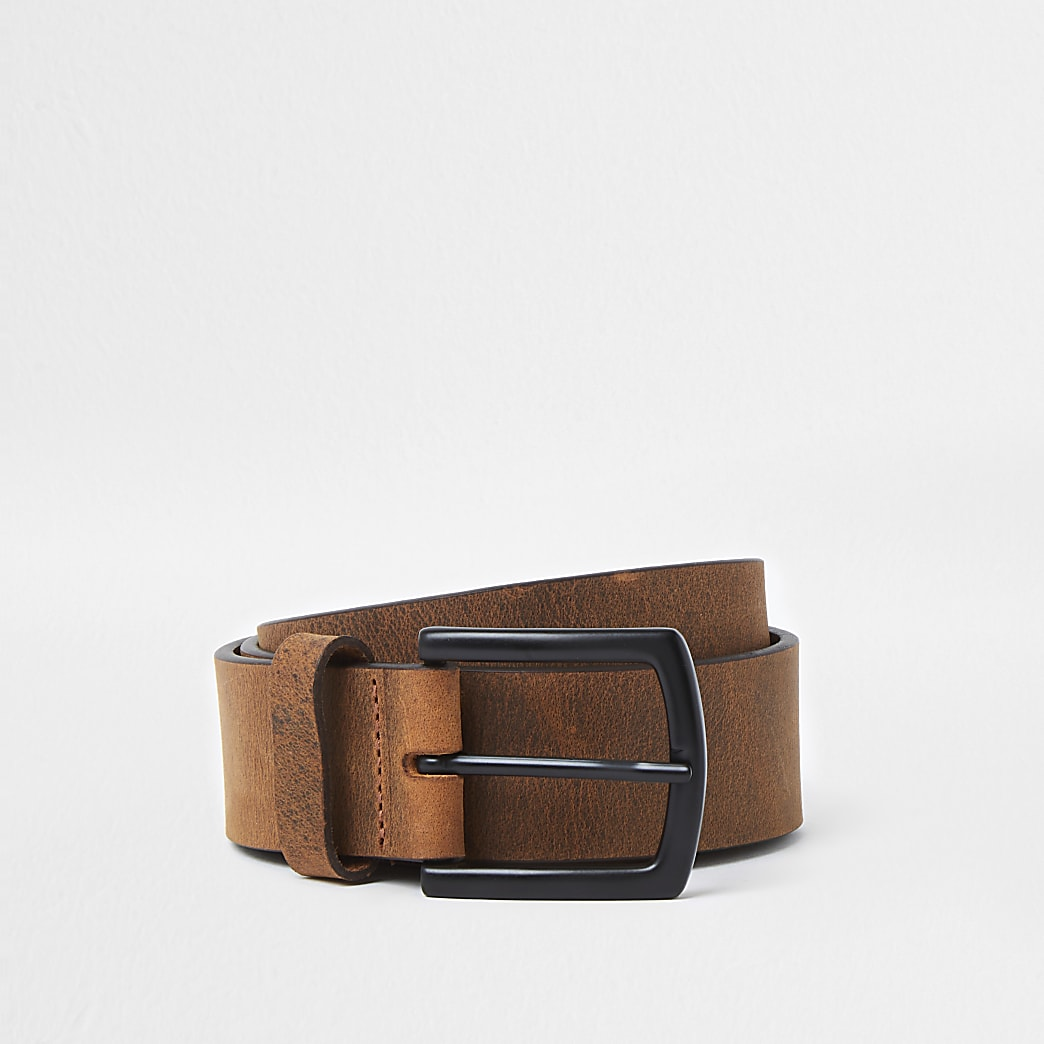 Brown casual leather square tip belt