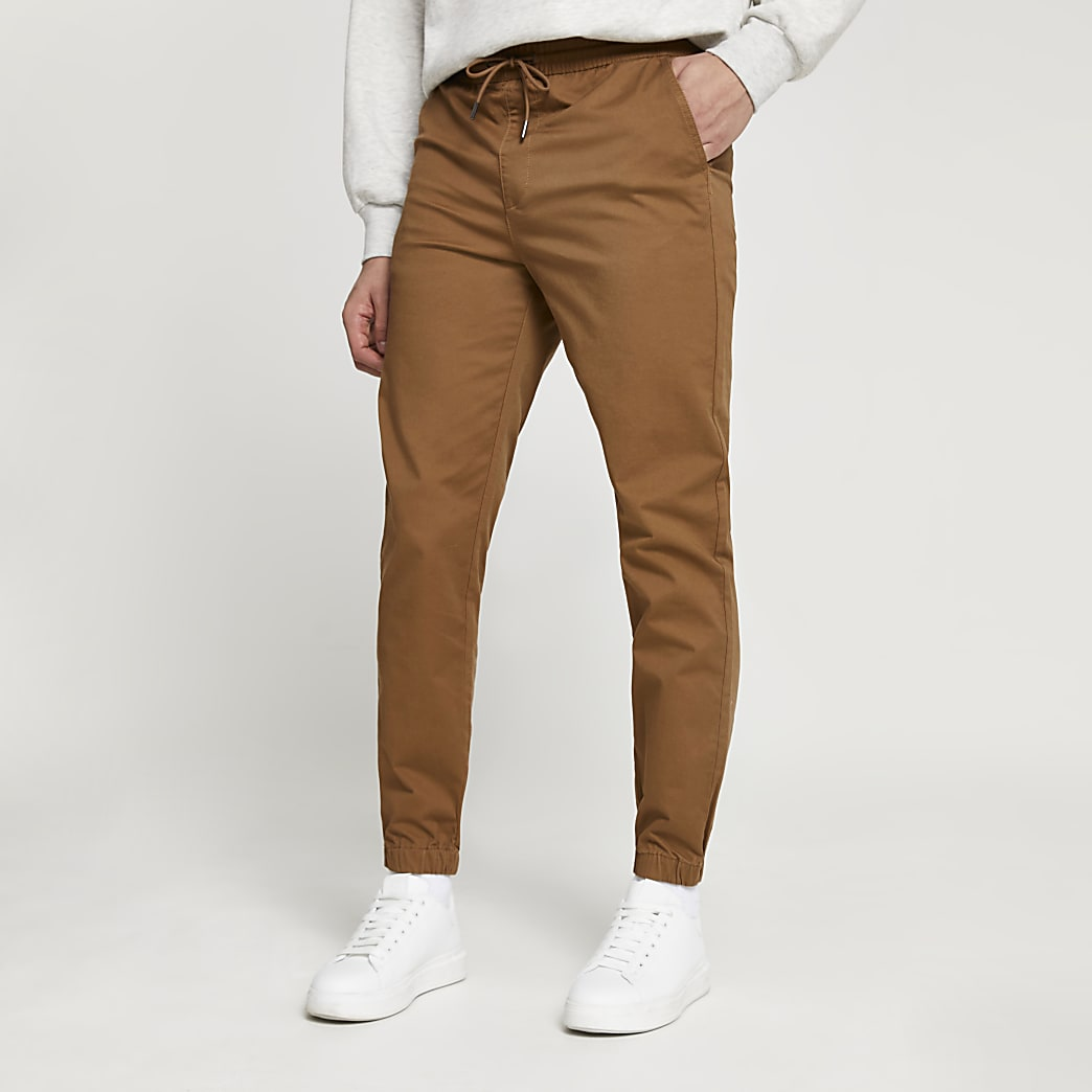 Brown casual slim fit chinos