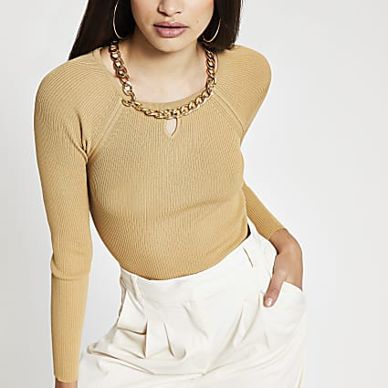 Brown chain choker ribbed top