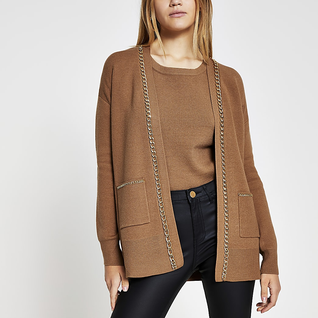 Brown chain embellished cardigan