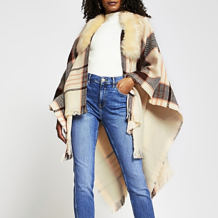 Brown check cape faux fur collar jacket