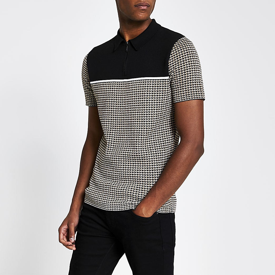 Brown check half zip slim fit Polo