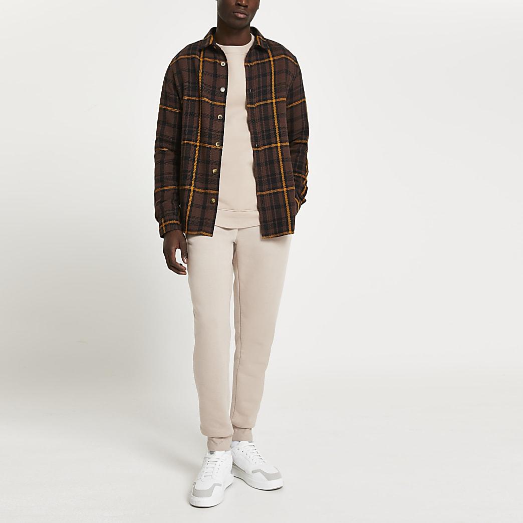 Brown check long sleeve shirt