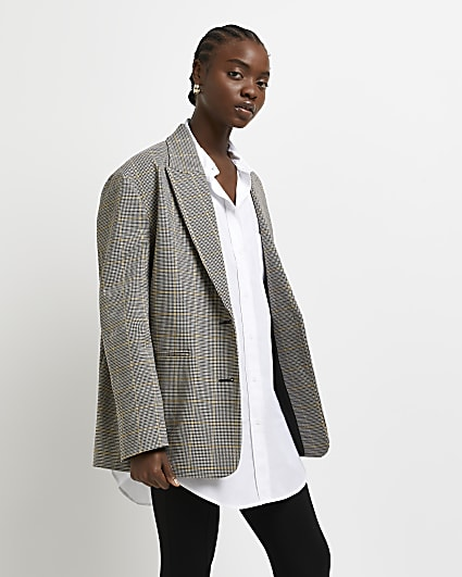 Brown check oversized blazer