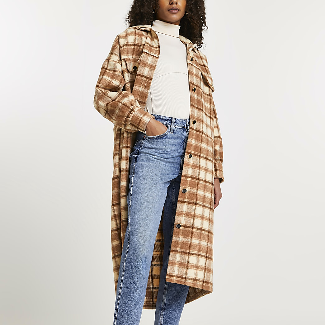 Brown check print hooded longline shacket