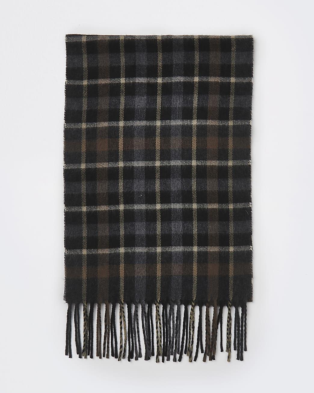 Brown check print tassel scarf