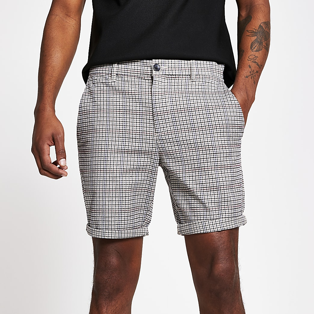 Brown check Sid skinny fit shorts