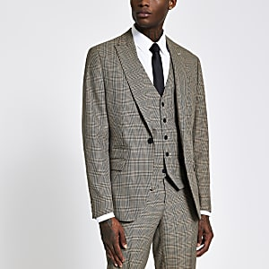 Brown check single breasted slim suit jacket
