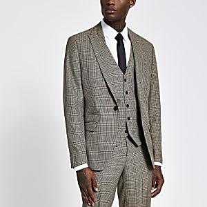 Einreihige Slim Fit Anzugjacke mit braunem Karomuster