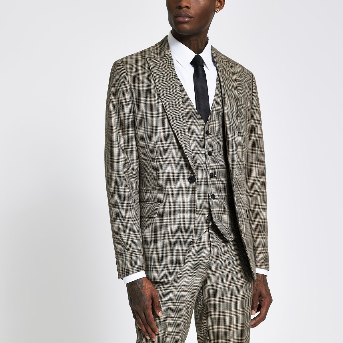 Brown check single breasted slim suit jacket
