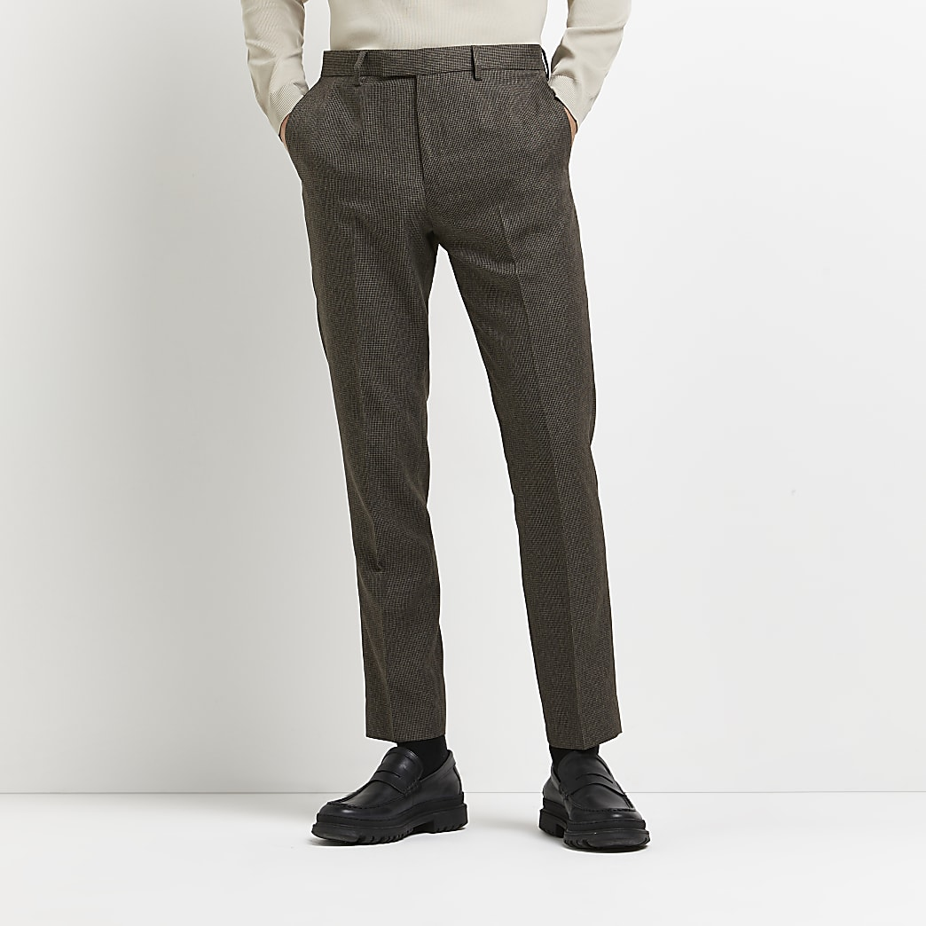 Brown check skinny fit suit trousers