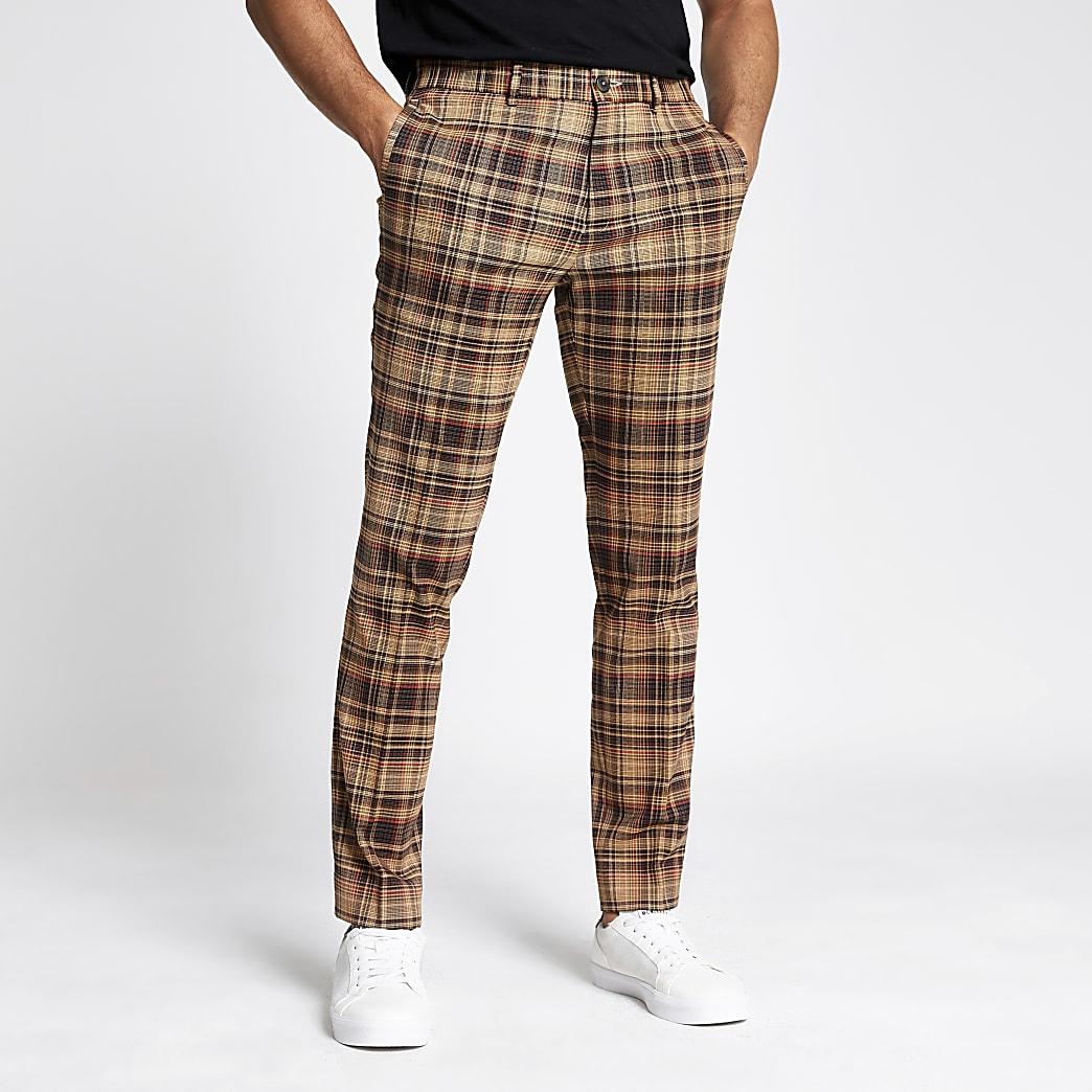 Pantalon skinny habillé à carreaux marron