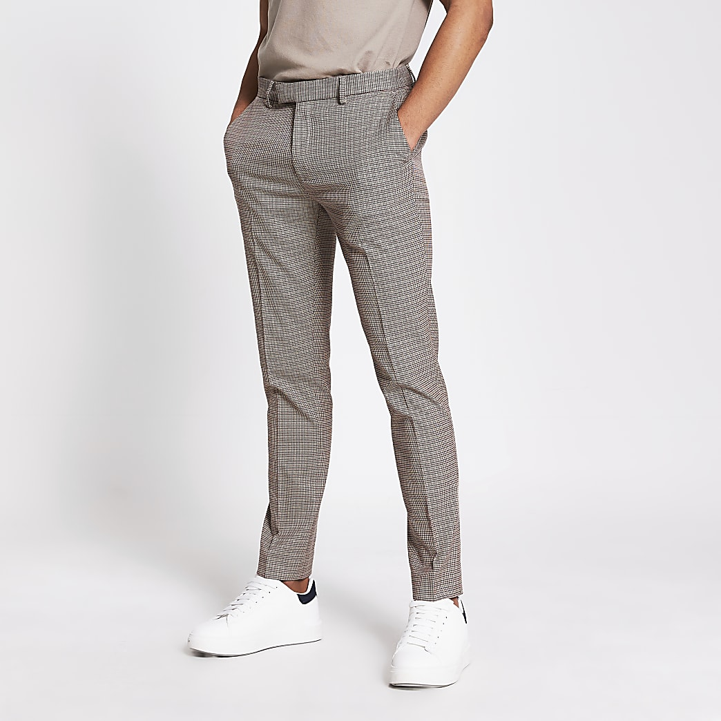 Brown check skinny trousers