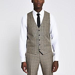 Slim Fit Anzugweste mit braunem Karomuster