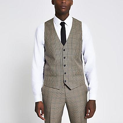 Brown check slim fit suit waistcoat