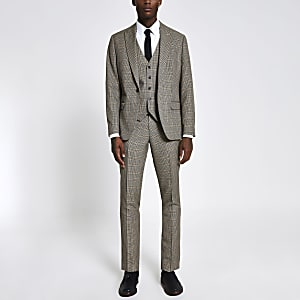 Braune karierte Slim Fit Anzughose